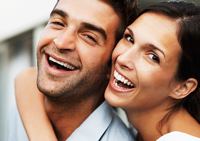 Buy stock photo Attractive couple embracing