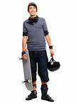 Portrait of a guy standing with skateboard and helmet