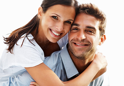 Buy stock photo Warm and inviting couple embracing