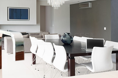Buy stock photo Interior view of modern dining room and living room