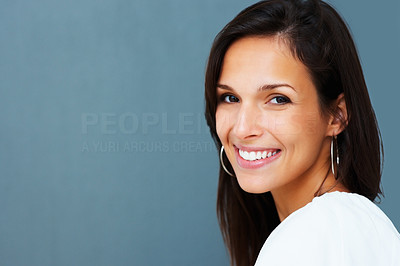 Buy stock photo Pretty woman smiling against blue background