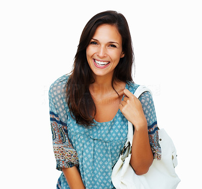 Buy stock photo Woman smiling while holding purse against white background