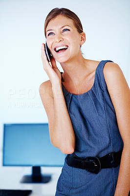 Business woman having happy conversation