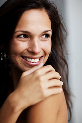 Buy stock photo Closeup portrait of a happy young woman looking away