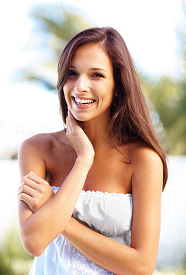 Buy stock photo Portrait of a sexy young woman posing confidently in a park - Outdoor