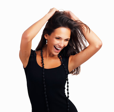 Buy stock photo Head shot of pretty woman with hands in hair