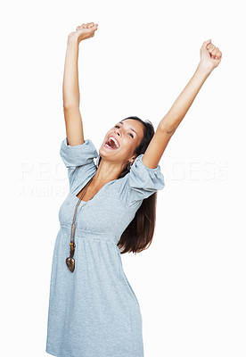 Buy stock photo Pretty woman throwing her arms up above her head