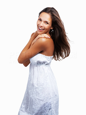 Buy stock photo Woman with hands on shoulders looking coy