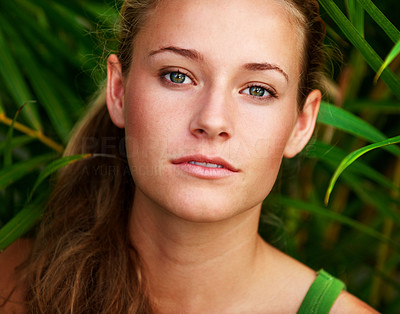 Buy stock photo Closeup portrait ot smart woman looking at you - Outdoor