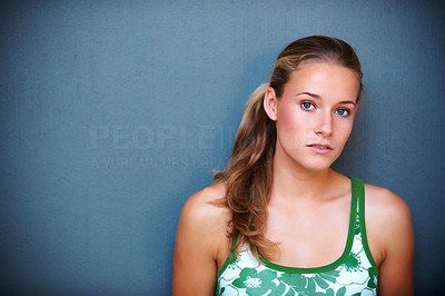 Buy stock photo Portrait of beautiful young woman against grey background