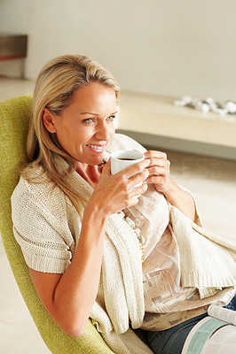 Buy stock photo Portrait of a relaxed mature woman in happy thoughts drinking coffee