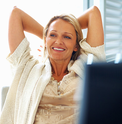 Buy stock photo Portrait of a relaxed casual mature female in happy thoughts