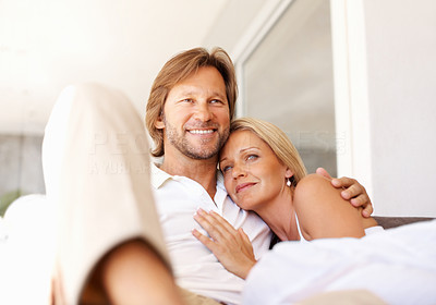Buy stock photo Portrait of a loving relaxed mature man and woman smiling