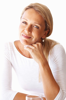Buy stock photo Closeup portrait of an attractive mature woman with hand on chin