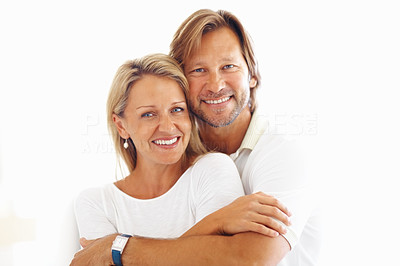 Buy stock photo Portrait of a mature man embracing a woman from behind against white background