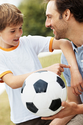Buy stock photo Portrait of a happy small child having fun with his father - Outdoor