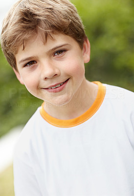 Buy stock photo Closeup portrait of a small child looking happy outside
