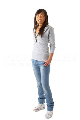 Buy stock photo Isolated studio shoot of a beautiful eastern looking girl with gorgeous dark brown eyes