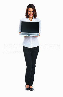 Buy stock photo Happy woman holding laptop with blank screen to add your text