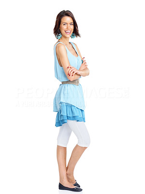 Buy stock photo Full length portrait of an excited young female standing with folded hands isolated on white background