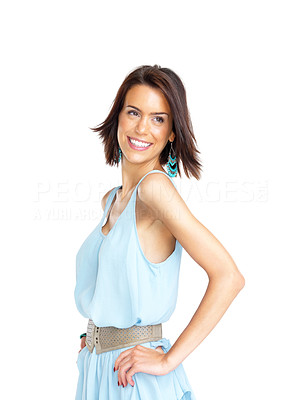 Buy stock photo Portrait of a pretty young woman looking away at copyspace against white background