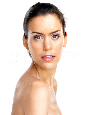 Buy stock photo Portrait of a sexy topless female model posing against white background