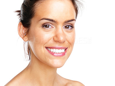 Buy stock photo Portrait of an attractive young woman looking happy over white background