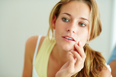 Buy stock photo Closeup portrait of a pretty young woman looking her face in mirror