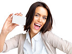 Pretty young woman holding an empty business card