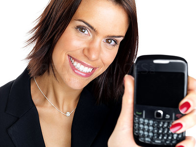 Buy stock photo Closeup portrait of a beautiful young woman showing her new mobilephone against white background