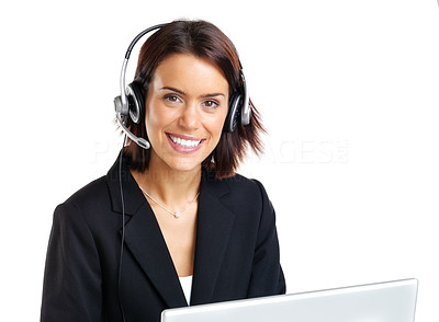 Buy stock photo Portrait of a happy young female telephone operator with headset against white background