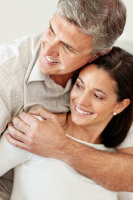 Buy stock photo Closeup of a lovely mature couple looking at something interesting