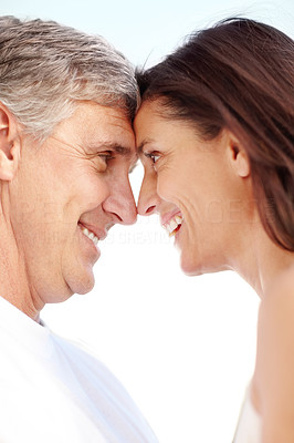 Buy stock photo Closeup portrait of lovely mature couple enkoying themselves