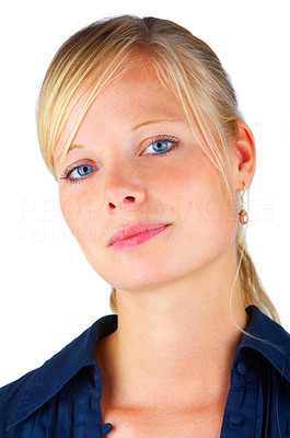 Buy stock photo Portrait of a smiling girl on white background