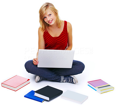 Buy stock photo Student with books spread around