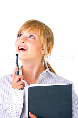 Buy stock photo Portrait of a young woman gazing out of the corner of her eyes.