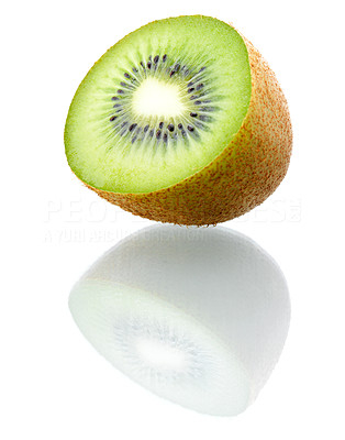 Buy stock photo Single kiwi on white background. This picture is part of the series