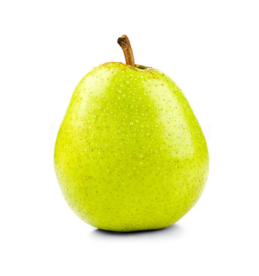 Buy stock photo Shot of an isolated green pear