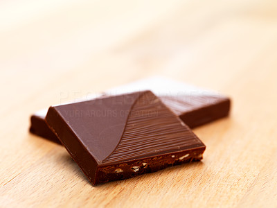 Buy stock photo Closeup shot of two pieces of chocolate