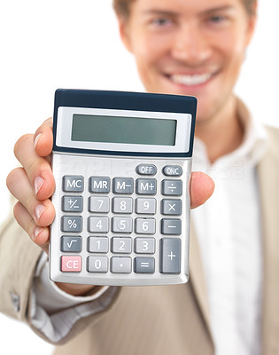 Buy stock photo Portrait of a cheerful businessman holding calculator