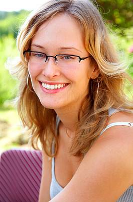 Buy stock photo Sunshine Girl. This is a professional European model.