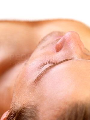 Buy stock photo Close-up of a handsome man s face, lying with eyes closed waiting for a massage