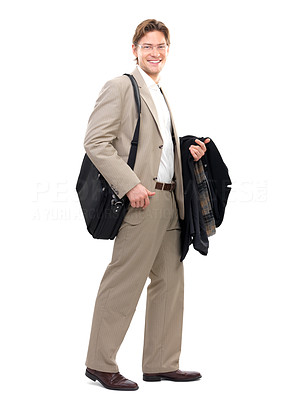 Buy stock photo Cheerful happy businessman. Full body portrait. Isolated standing against white background