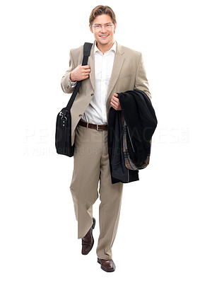 Buy stock photo Portrait of a cheerful businessman holding coat against isolated white background