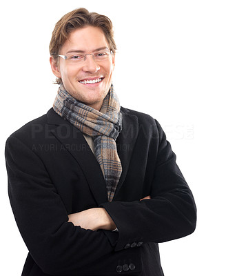 Buy stock photo Cheerful young businessman with arms crossed