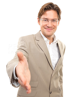 Buy stock photo Portrait of a smiling businessman with an open hand