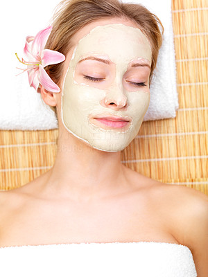 Buy stock photo Young beautiful woman wearing facial mask with eyes closed. Portrait from the spa