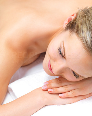 Buy stock photo A young woman enjoying a day at the spa