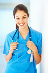 Doctor holding her stethoscope