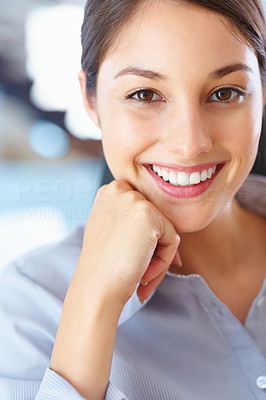 Buy stock photo Closeup of happy young businesswoman with hand on chin